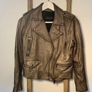 Banana Republic Metallic Gold 100% Leather Jacket